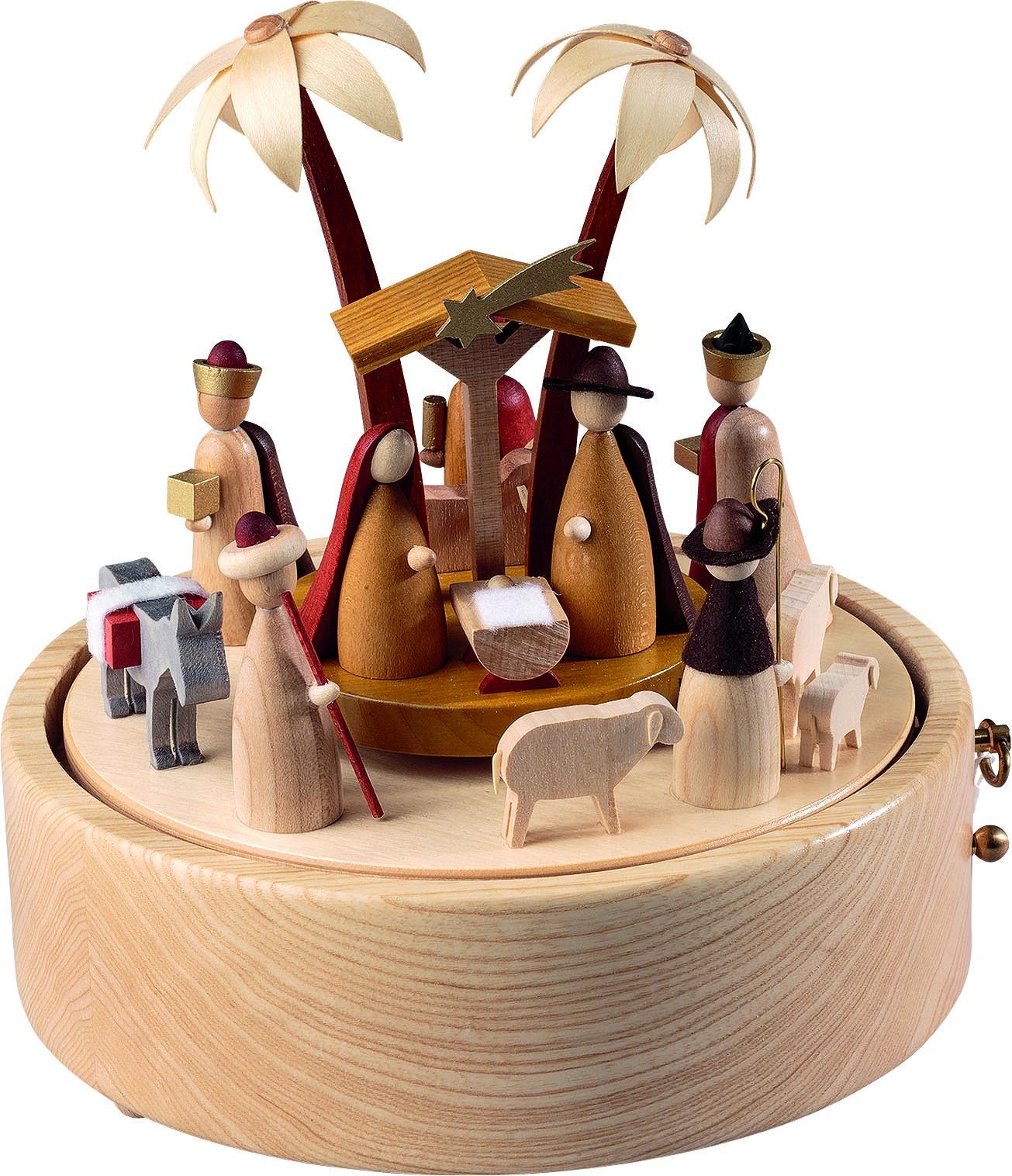 Spieldose Christi Geburt, 36-st. Spw. Stille Nacht, neues Naturholzdesign