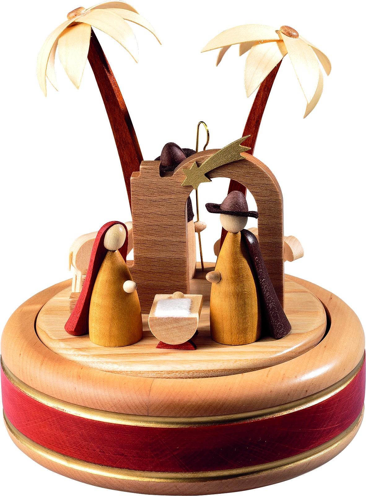 Spieldose Christi Geburt, 22-st. Spw. Stille Nacht, neues Naturholzdesign