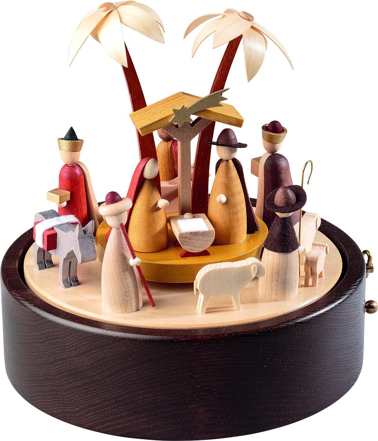 Spieldose Christi Geburt, 28-st. Spw. Stille Nacht, neues Naturholzdesign