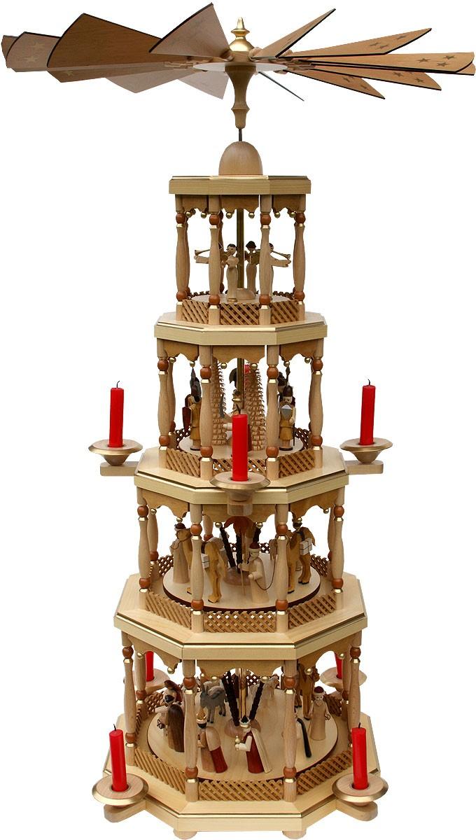 Pyramide Christi Geburt 4stöckig Natur