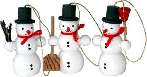 3 Stück Schneemänner,  unterschiedlich bestückt