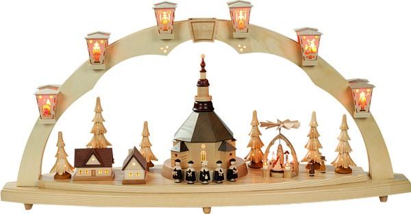Schwibbogen Seiffener Kirche mit Pyramide