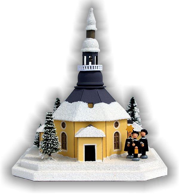 Lichterhaus Seiffener Kirche mit Kurrende und beleuchteten Weihnachtsbaum