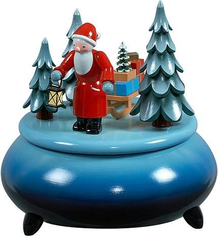 Spieldose - Weihnachtsmann mit Schlitten / blau-weiß