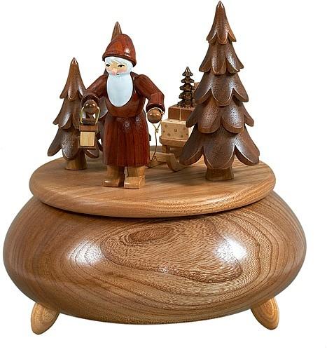 Spieldose - Weihnachtsmann mit Schlitten / natur