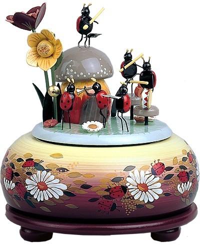 kleine Spieldose musizierende Käfer
