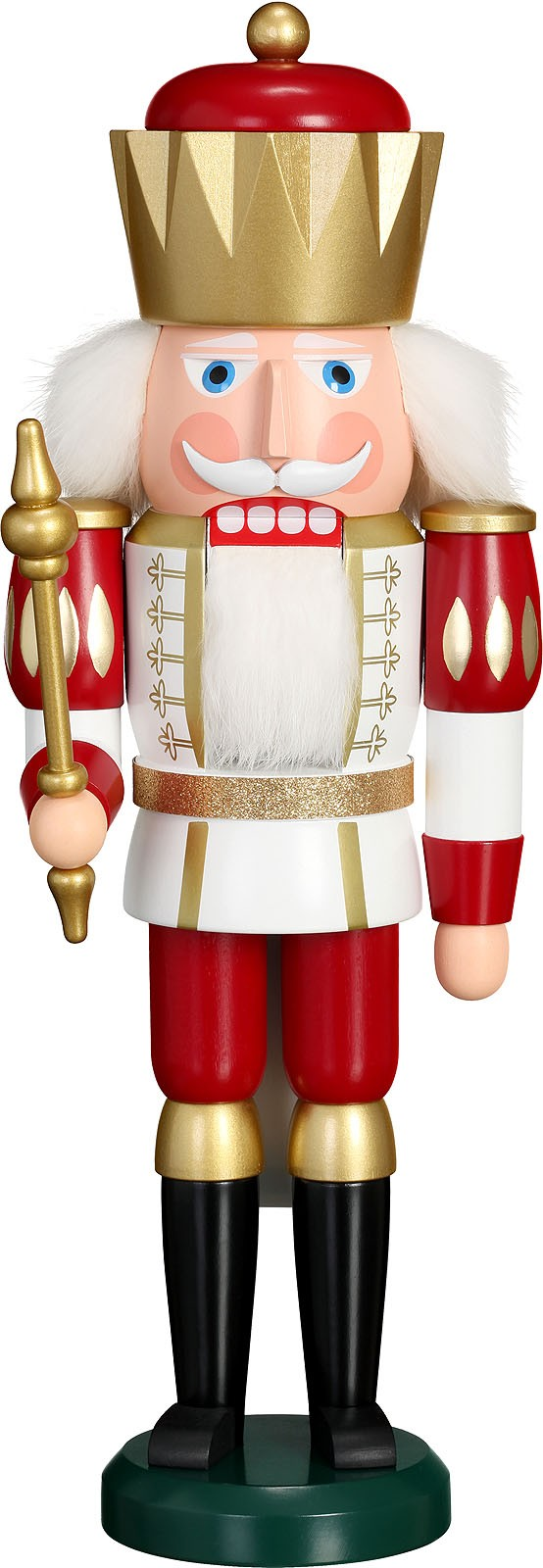 Nussknacker König, weiß-rot
