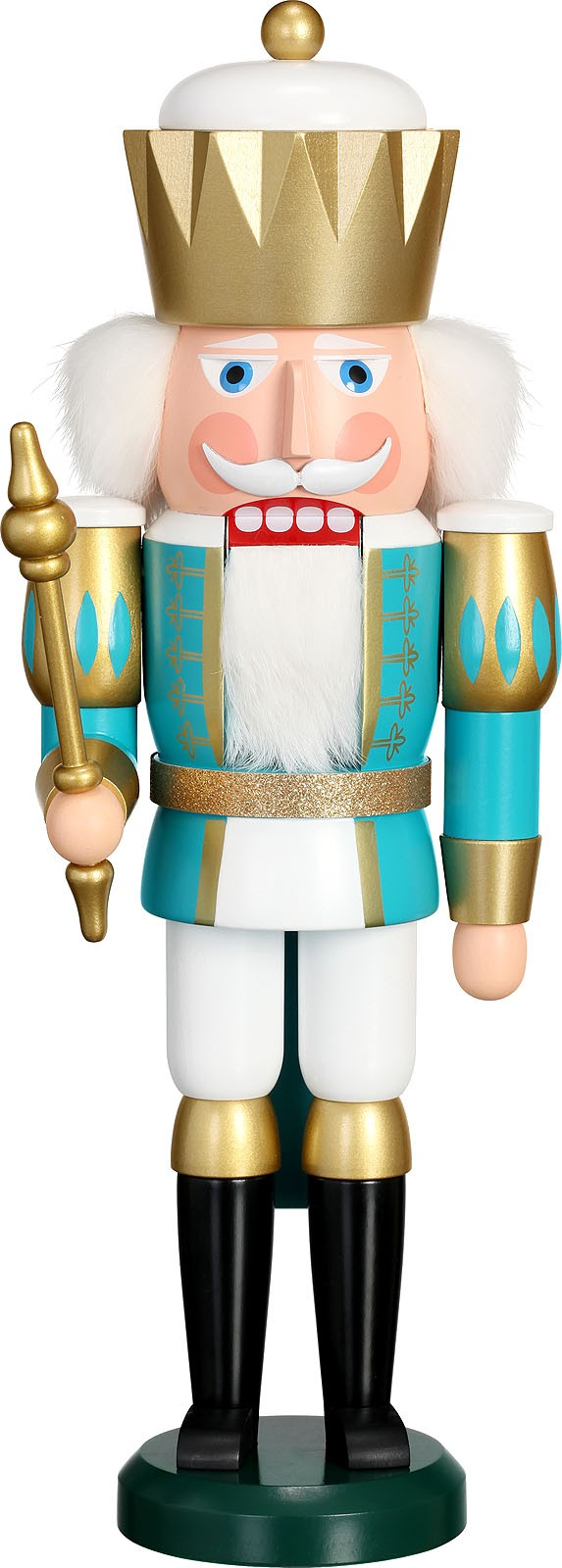 Nussknacker König, türkis-weiß
