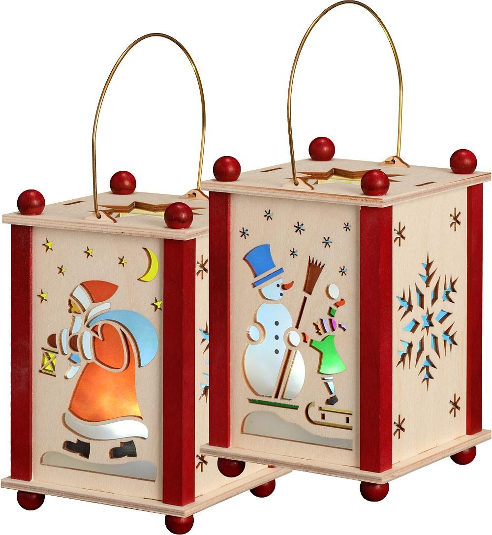 Laterne Weihnachtsmann & Schneemann