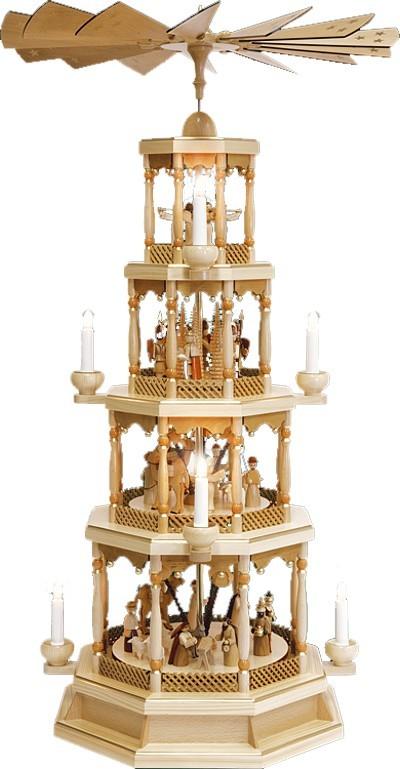 Weihnachtspyramide Christi Geburt 4stöckig Natur