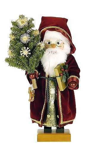 Nussknacker Weihnachtsmann mit Strohsternbaum