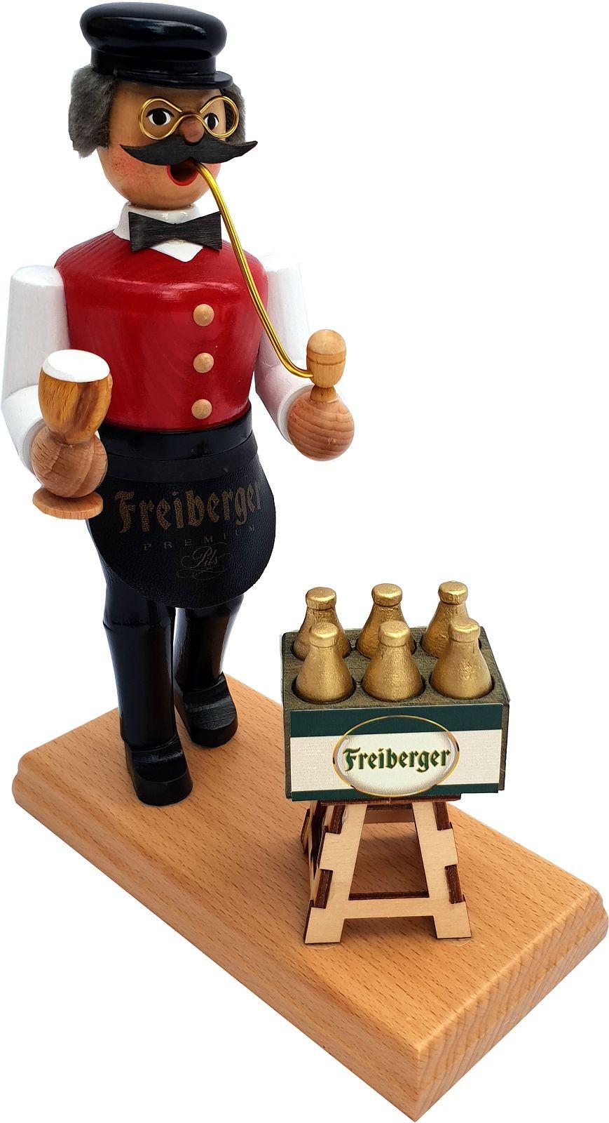 Räuchermann Gastwirt mit Bierkasten - Freiberger, rote Weste