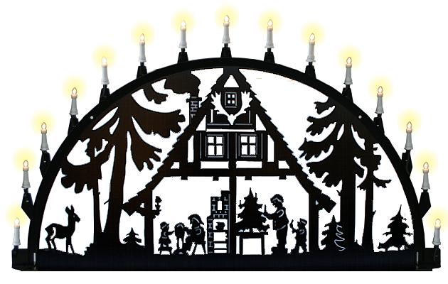 Außenschwibbogen aus Metall - Motiv Waldhaus