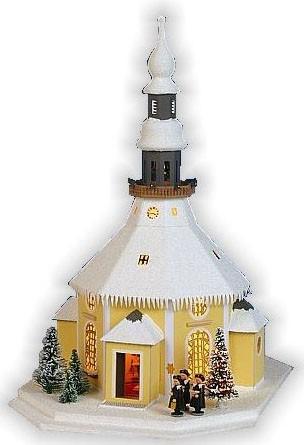 Lichterhaus Seiffener Kirche, mit Spielwerk