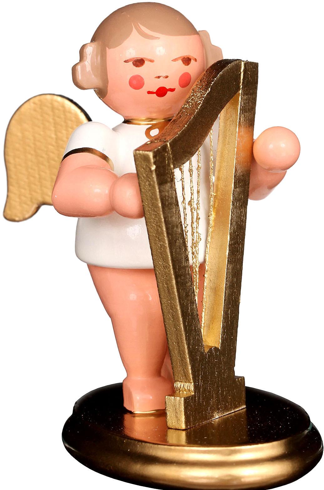Engel mit Harfe, weiß/gold