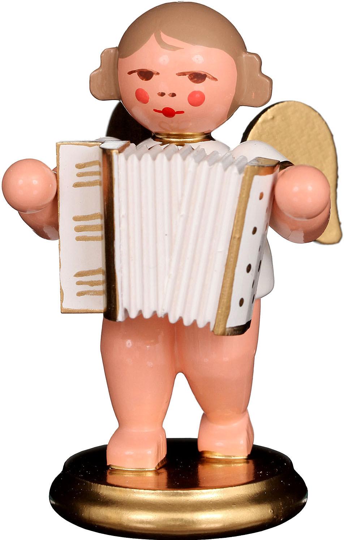 Engel mit Ziehharmonika, weiß/gold