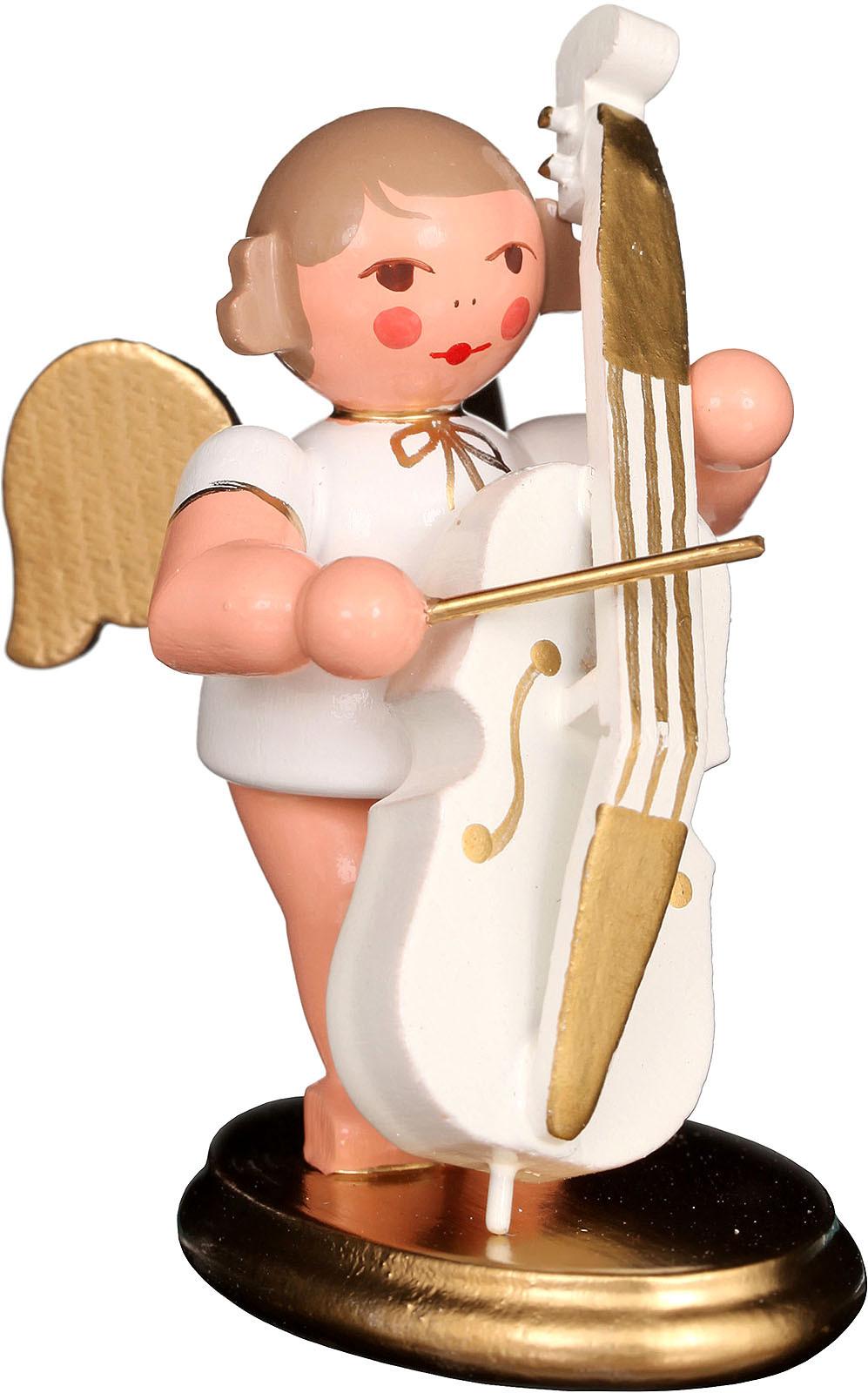 Engel mit Bass, weiß/gold