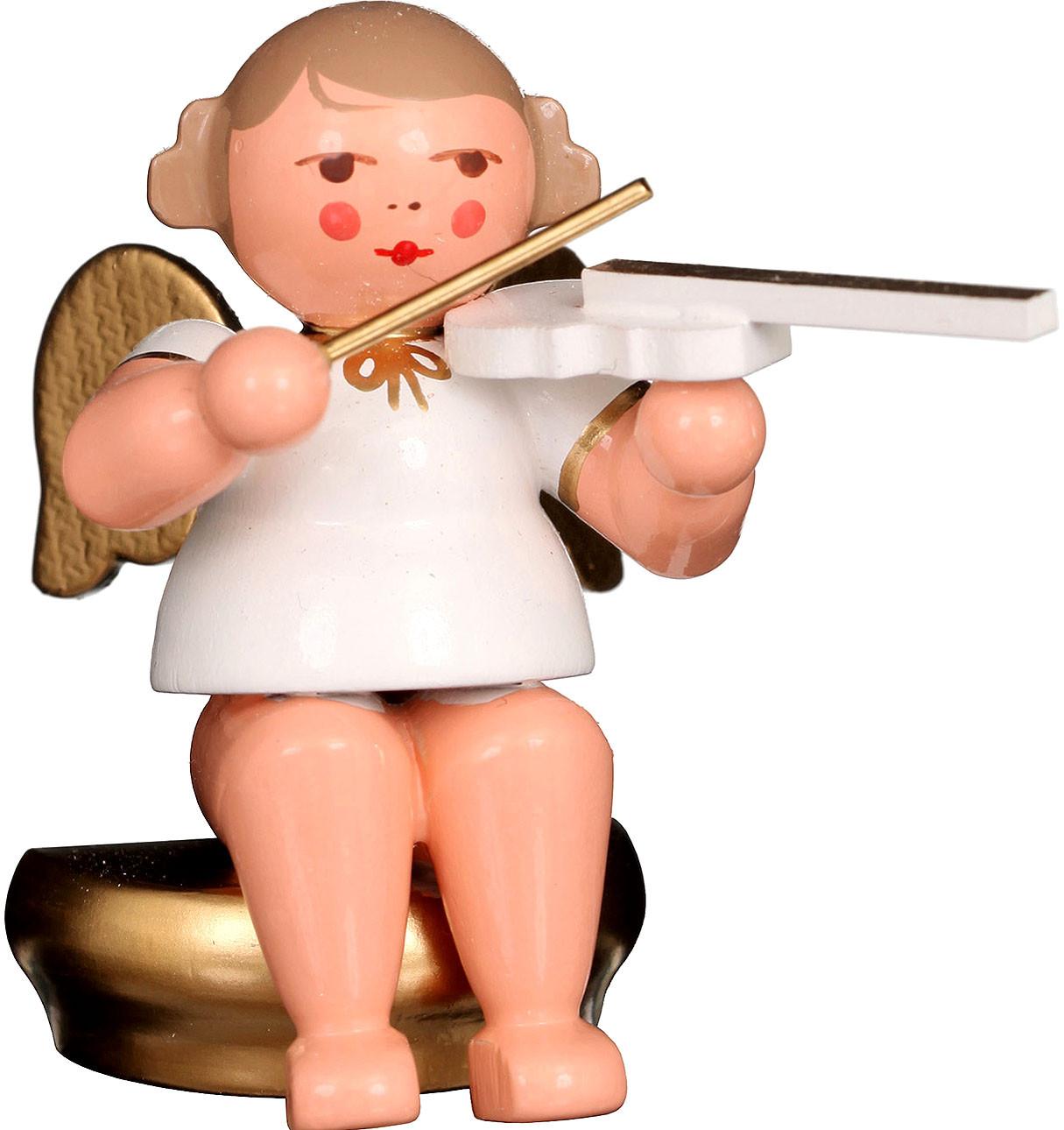Engel mit Geige, sitzend - weiß/gold