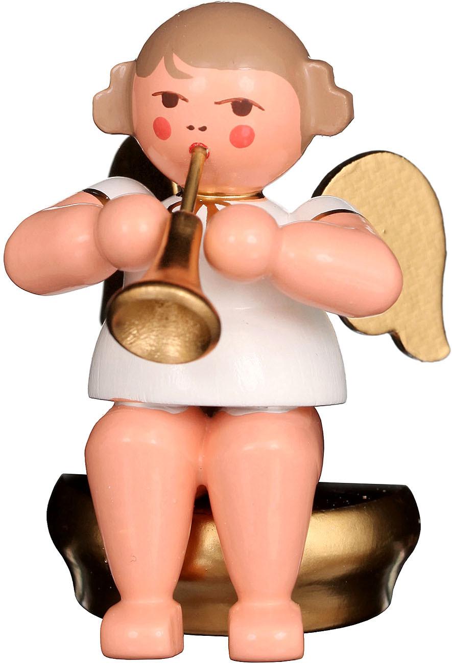 Engel mit Fanfare, sitzend - weiß/gold