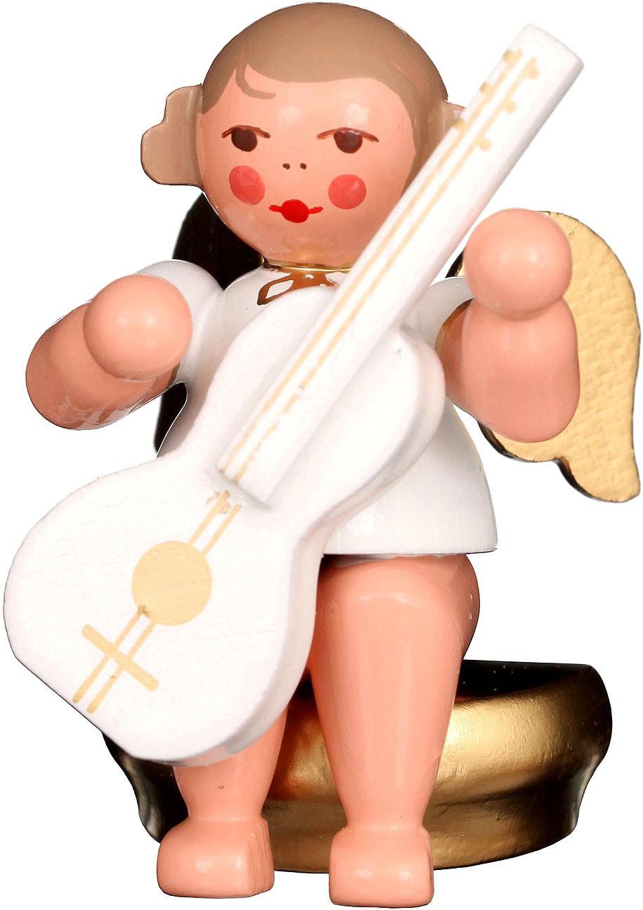 Engel mit Gitarre, sitzend - weiß/gold