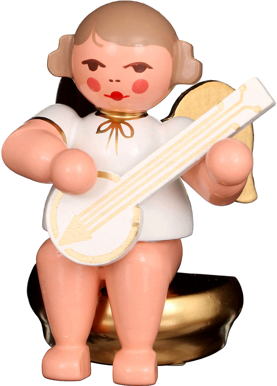 Engel mit Banjo, sitzend - weiß/gold