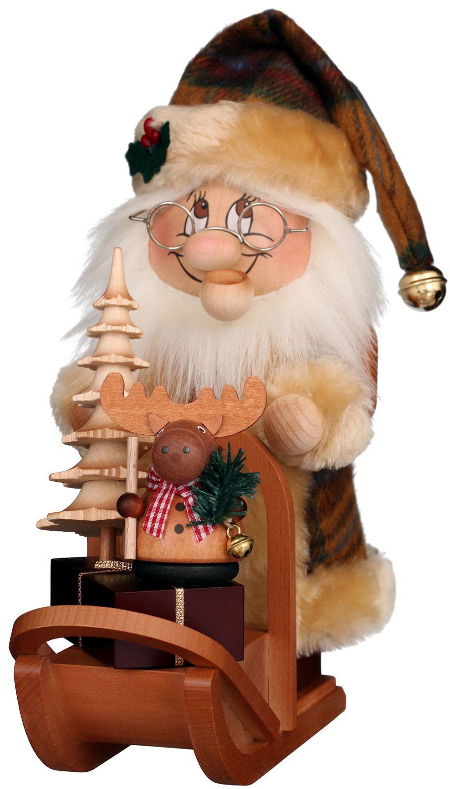 Räuchermann Wichtel Weihnachtsmann mit Schlitten