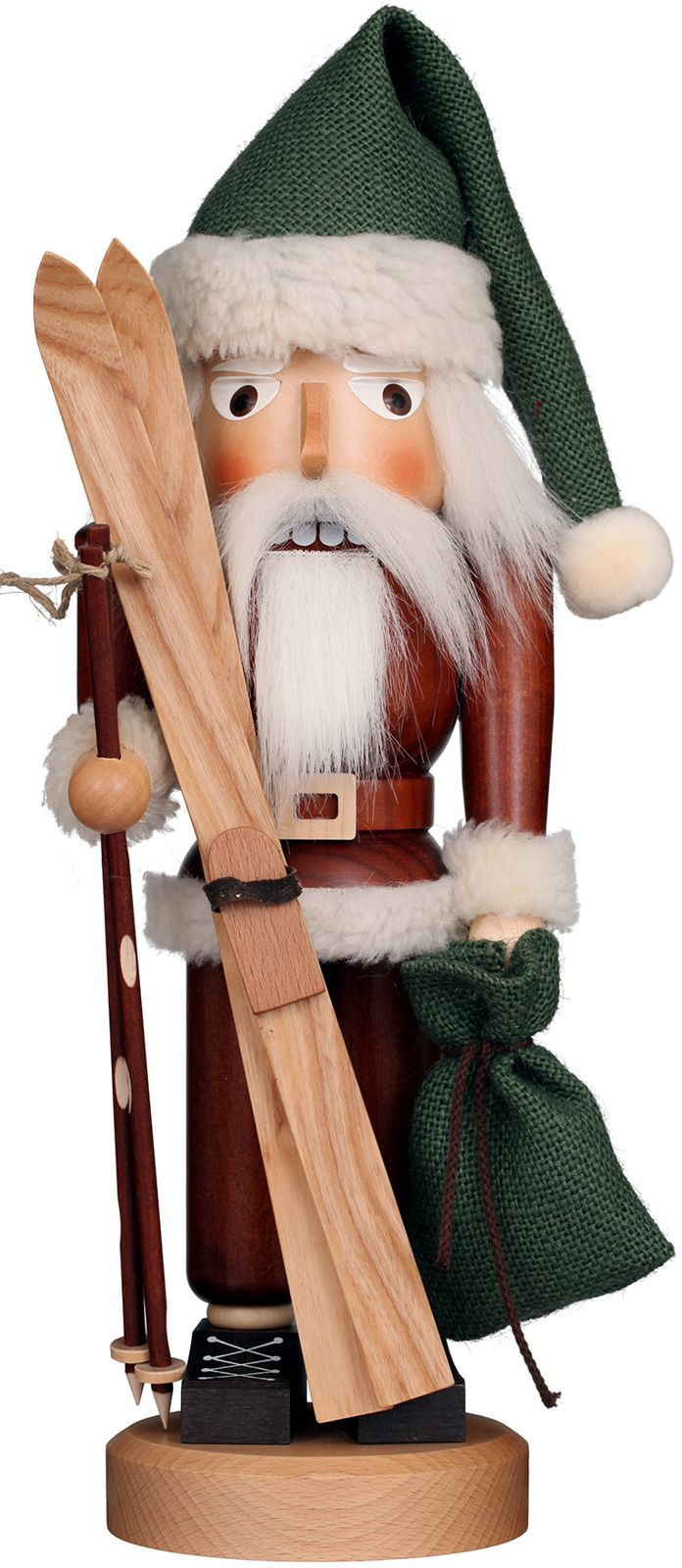Nußknacker Weihnachtsmann mit Ski natur