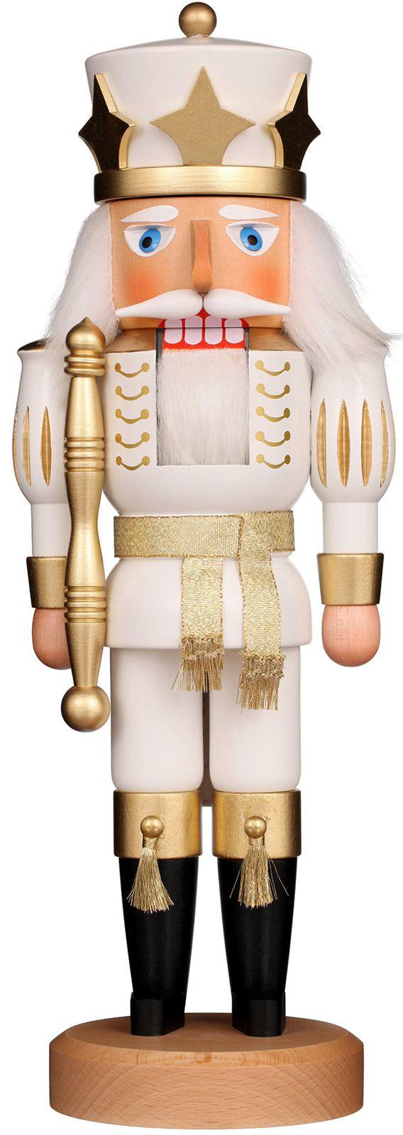 Nußknacker Prinz weiß/gold lasiert