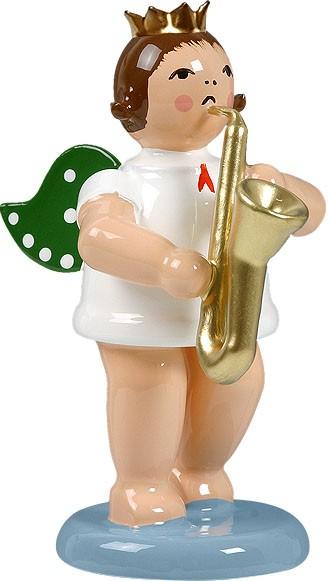 Engel mit Saxophon, mit Krone