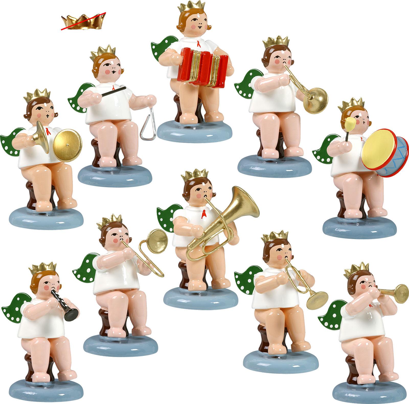 Engelmusikanten, sitzend, 10-teilig, Variante 1 - ohne Krone
