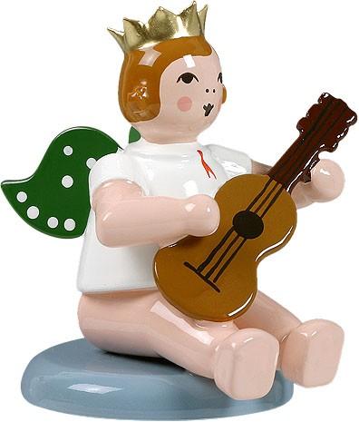 Engel mit Gitarre, flach sitzend, mit Krone