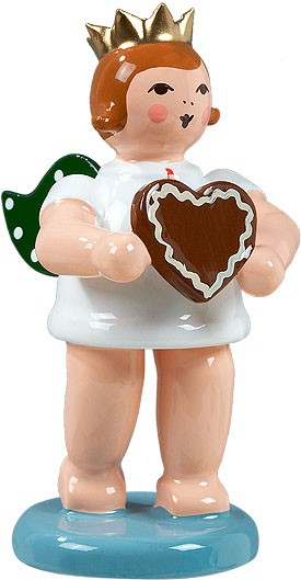 Geschenkeengel mit Pfefferkuchenherz, mit Krone