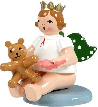 Engel mit Teddybär, sitzend, mit Krone