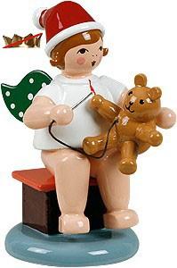 Weihnachtsengel mit Teddy - sitzend, ohne Krone