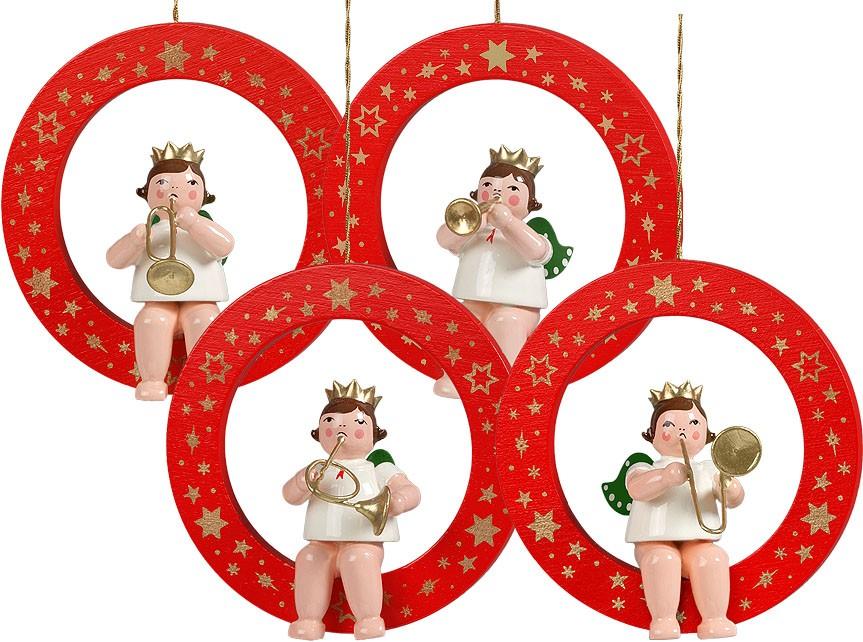 Baumbehang Engel im roten Ring - Variante 2, mit Krone