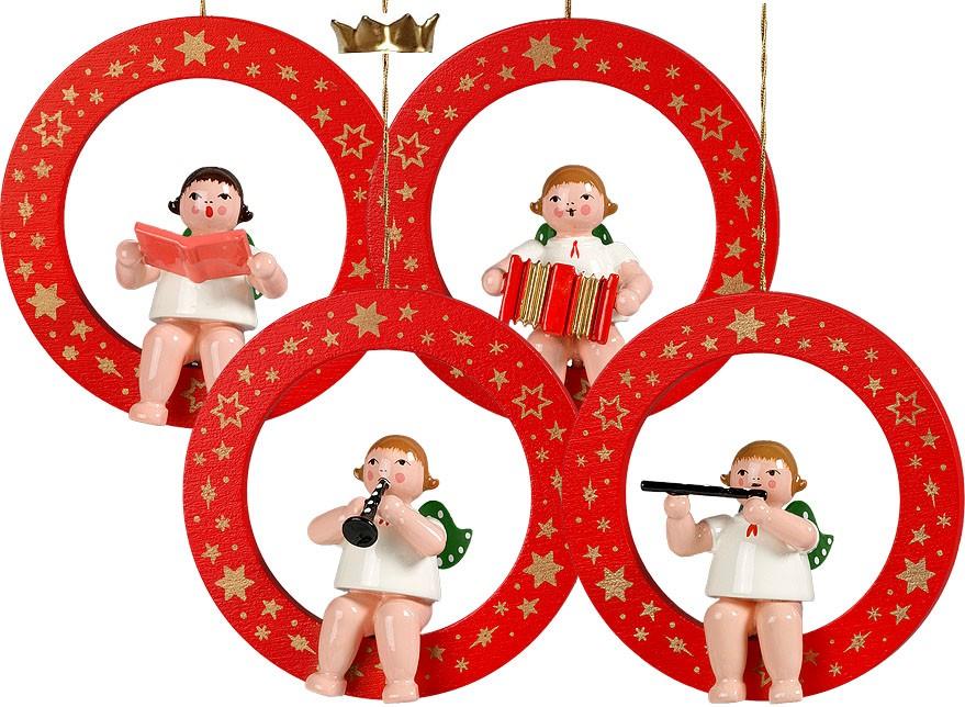 Baumbehang Engel im roten Ring - Variante 4, mit Krone