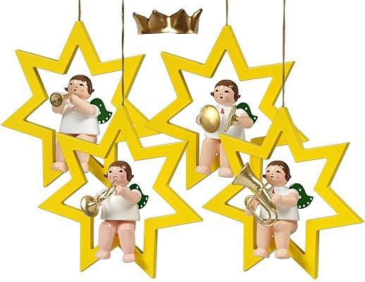Baumbehang Engel im Stern - Variante 2, mit Krone