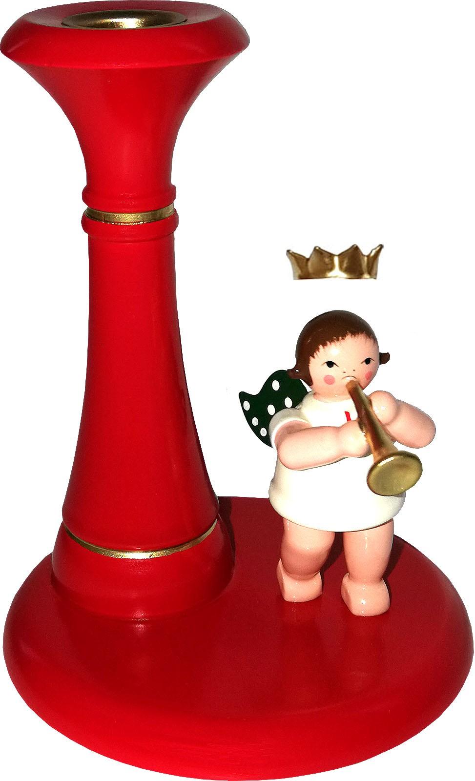 Kerzenhalter, rot - Engel stehend, mit Krone