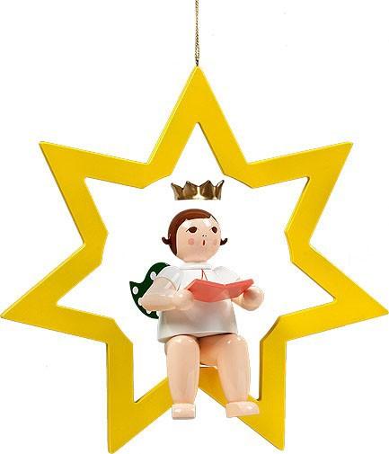 großer Engel im Stern mit Buch - hängend, mit Krone