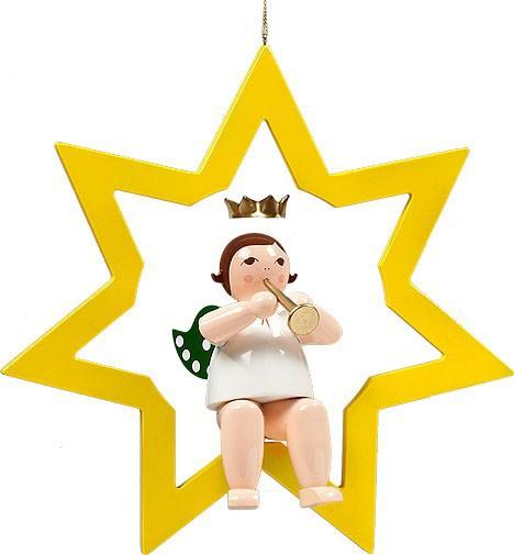 großer Engel im Stern mit Trompete - hängend, mit Krone