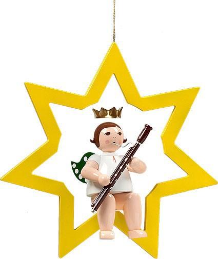 großer Engel im Stern mit Fagott - hängend, mit Krone