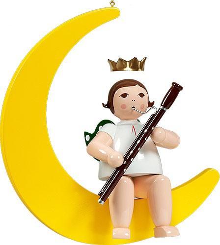 großer Engel auf Mond mit Fagott - hängend, mit Krone