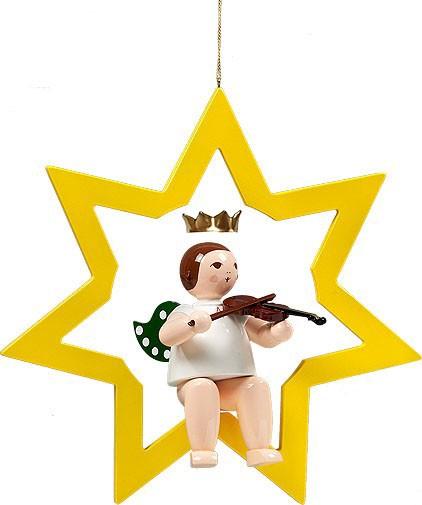 großer Engel im Stern mit Geige - hängend, mit Krone