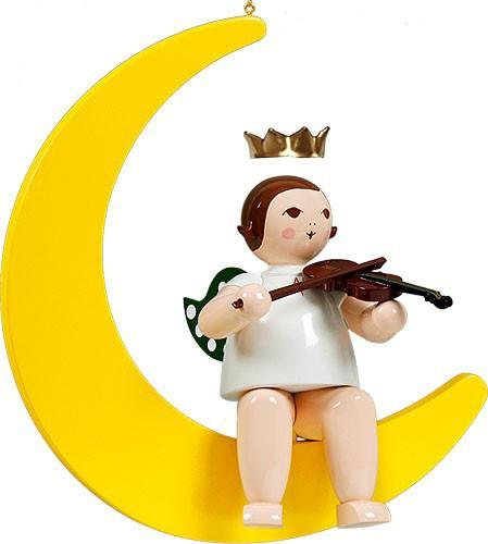 großer Engel auf Mond mit Geige - hängend, mit Krone