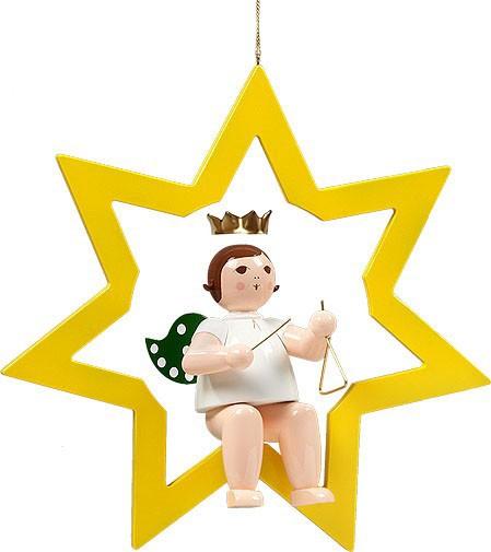 großer Engel im Stern mit Triangel - hängend, mit Krone