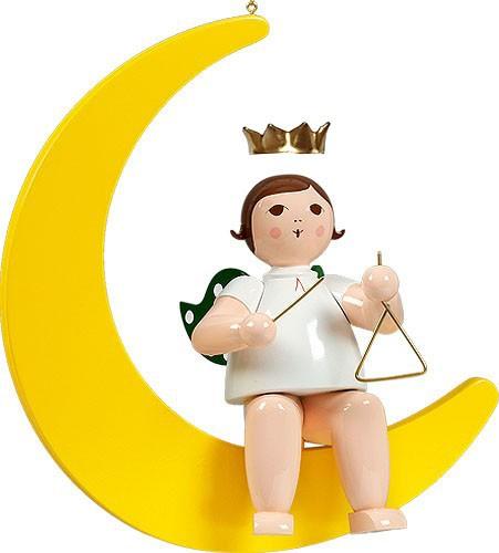 großer Engel auf Mond mit Triangel - hängend, mit Krone