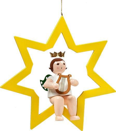 großer Engel im Stern mit Harfe - hängend, mit Krone