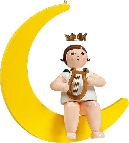 großer Engel auf Mond mit Harfe - hängend, mit Krone