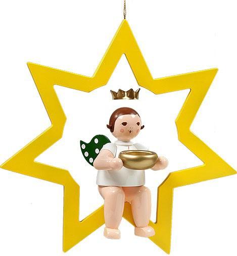 großer Engel im Stern mit Teelicht - hängend, mit Krone