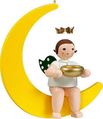 großer Engel auf Mond mit Teelicht - hängend, mit Krone